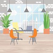 Boss office interior in flat design, view from the window