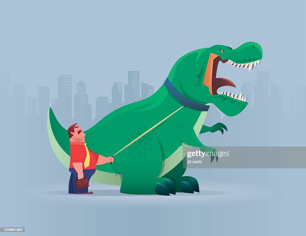 boss with dinosaur