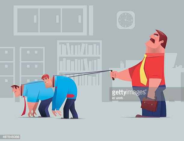 boss with employees - dragging stock illustrations