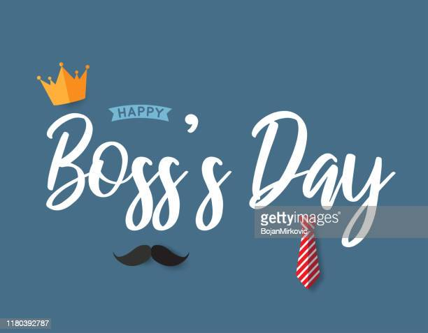 boss's day poster with crown, tie and mustache. vector - bossy stock illustrations