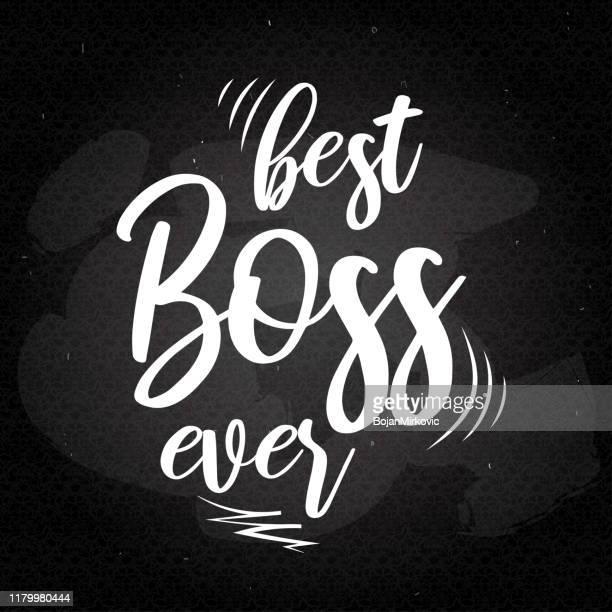 boss's day retro lettering card. best boss ever. vector - bossy stock illustrations