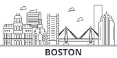 Boston architecture line skyline illustration. Linear vector cityscape with famous landmarks, city sights, design icons. Landscape wtih editable strokes