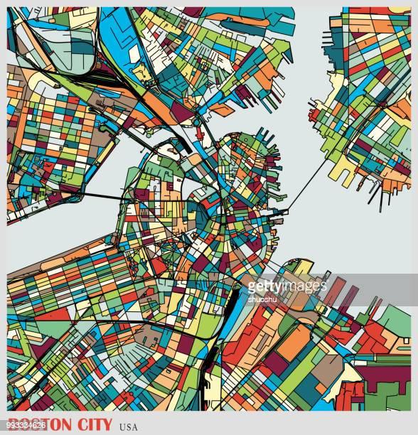 boston city art illustration map - boston massachusetts stock illustrations