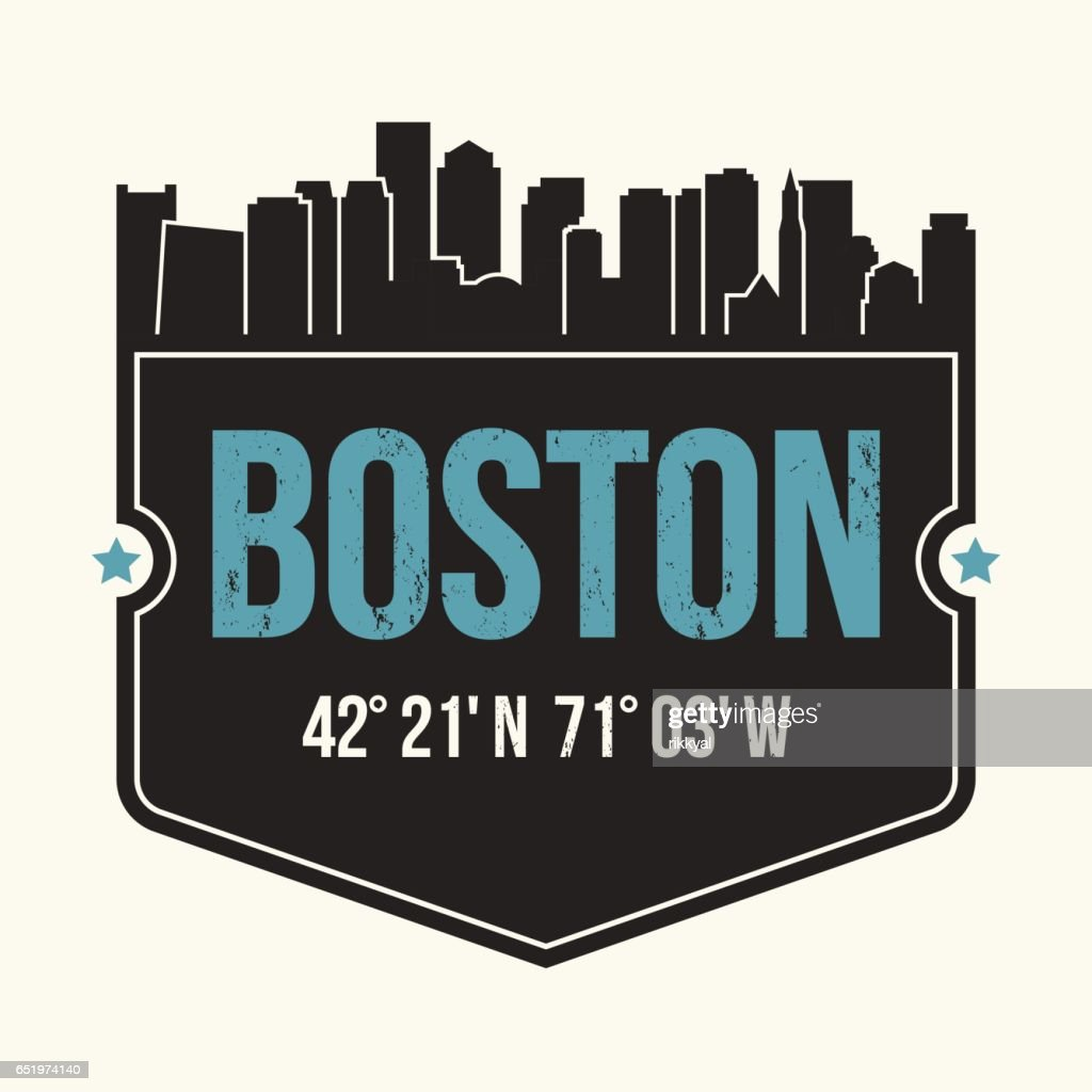 Boston city graphic, t-shirt design, tee print, typography, emblem.