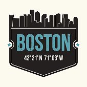 Boston city graphic, t-shirt design, tee print, typography, emblem.
