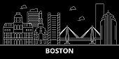 Boston city silhouette skyline. USA - Boston city vector city, american linear architecture, buildings. Boston city travel illustration, outline landmarks. USA flat icon, american line banner