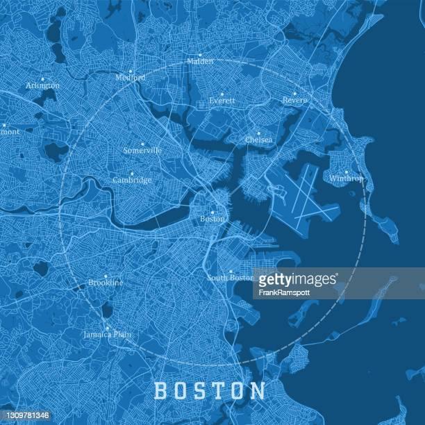 boston ma city vector road map blue text - massachusetts stock illustrations