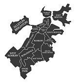 Boston Massachusetts city map USA labelled black illustration