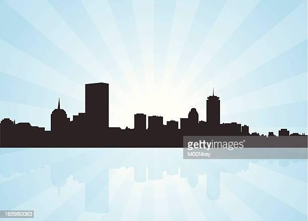 boston massachusetts skyline - boston massachusetts stock illustrations