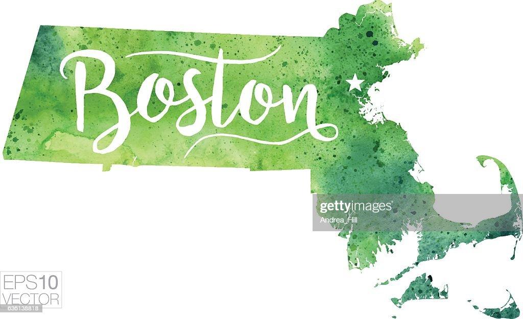 Boston On Usa Map.Boston Massachusetts Usa Vector Watercolor Map Vector Art Getty Images