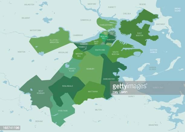 boston neighborhoods map - boston massachusetts stock illustrations