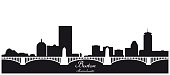 boston skyline black and white silhouette