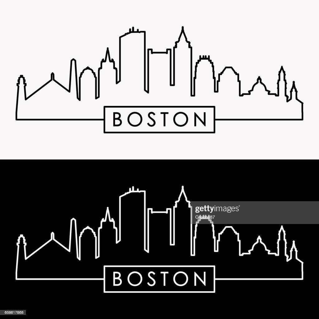 Boston skyline. Linear style. Editable vector file.