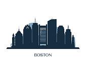 Boston skyline, monochrome silhouette. Vector illustration.