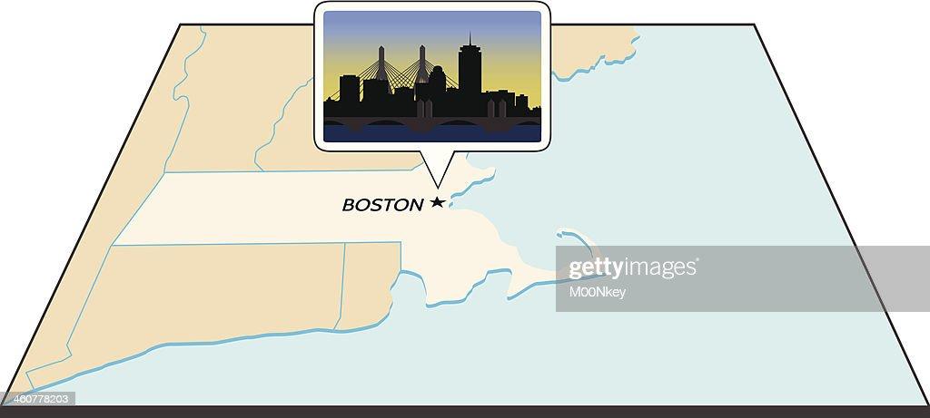 Boston Skyline on Map of Massachusetts