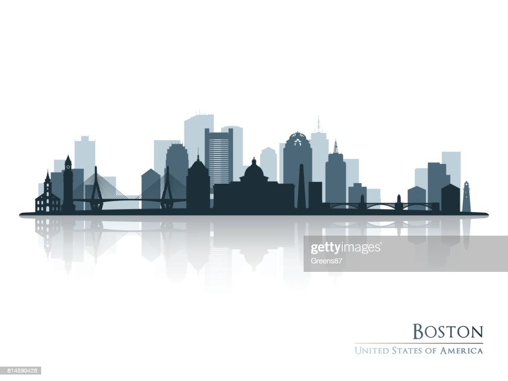 Boston, skyline silhouette with reflection. Vector illustration.