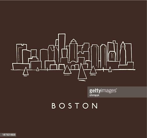 boston skyline sketch - boston massachusetts stock illustrations