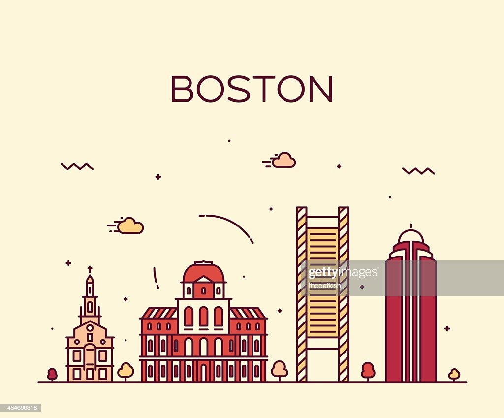 Boston skyline trendy vector illustration linear