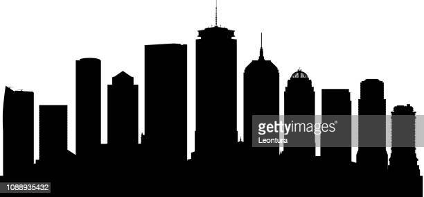 boston skyline (all buildings are moveable and complete) - skyscraper stock illustrations