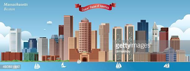 boston skyline - boston massachusetts stock illustrations