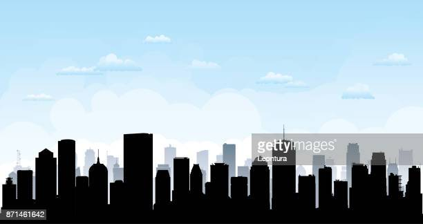 boston skyline (all buildings are moveable and complete) - boston massachusetts stock illustrations