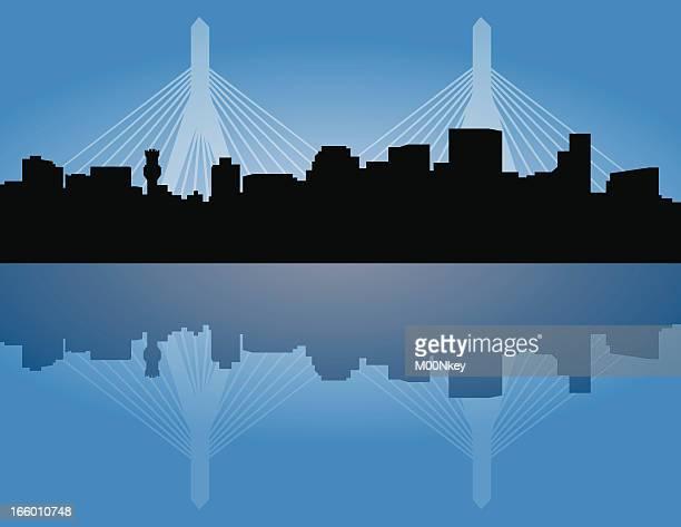 boston skyline with zakim bridge - boston massachusetts stock illustrations