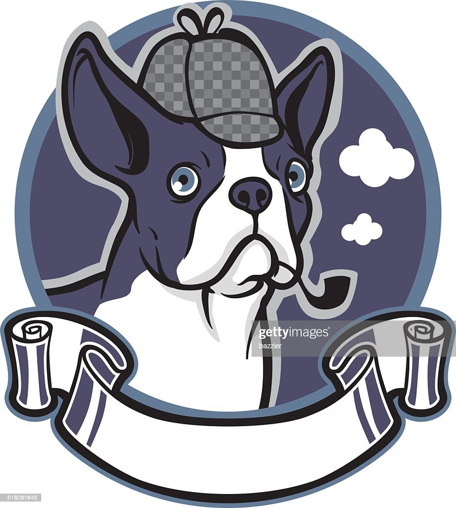 boston terrier dog wear a detective hat