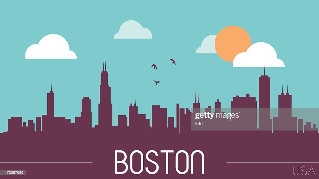 Boston USA skyline silhouette