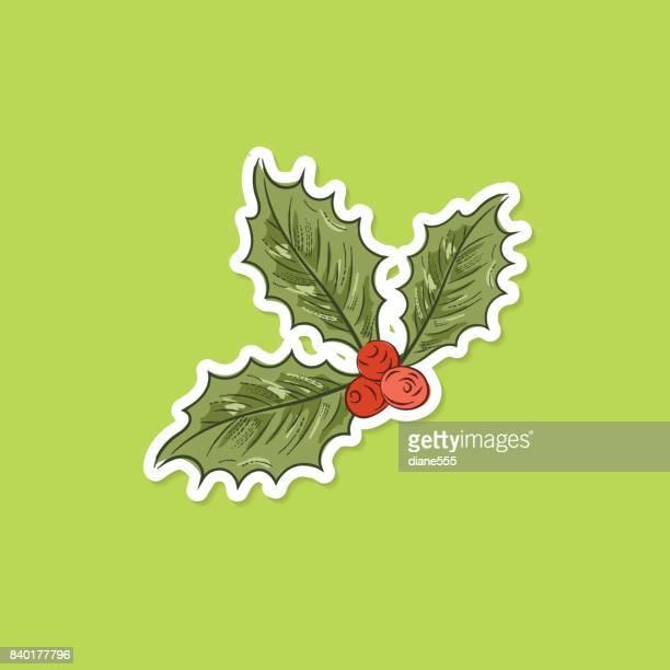 illustrations, cliparts, dessins animés et icônes de autocollant de houx de noël botanique - houx