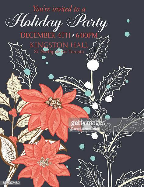 ilustraciones, imágenes clip art, dibujos animados e iconos de stock de botanical christmas plants background party invitation - flor de pascua