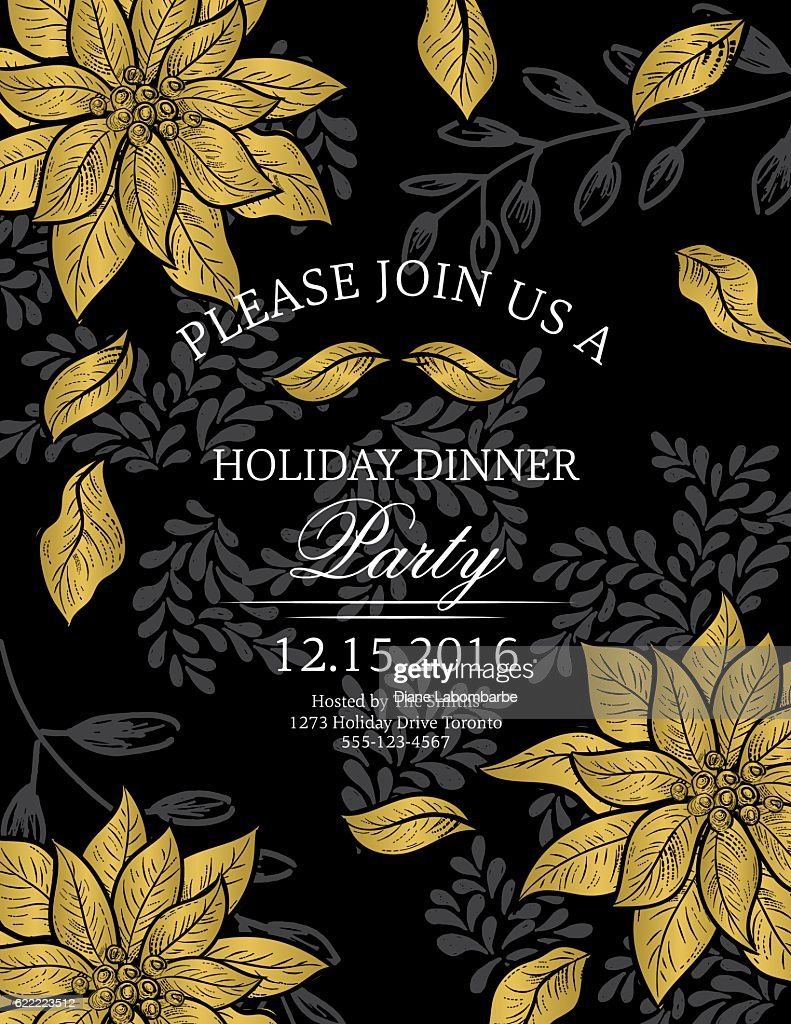 Botanical christmas poinsettia party invitation black and gold botanical christmas poinsettia party invitation black and gold vector art stopboris Image collections