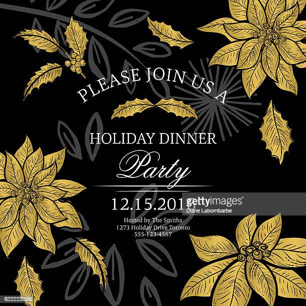 ilustraciones, imágenes clip art, dibujos animados e iconos de stock de botanical christmas poinsettia party invitation - black and gold - flor de pascua