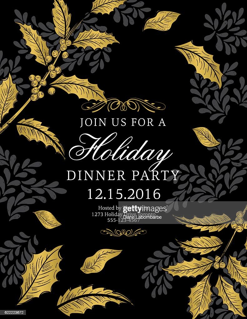 Botanical Christmas Poinsettia Party Invitation - Black and Gold