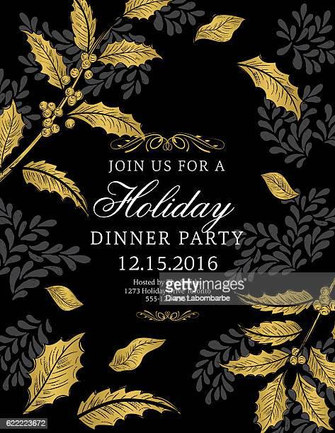illustrations, cliparts, dessins animés et icônes de botanical christmas poinsettia party invitation - black and gold - houx