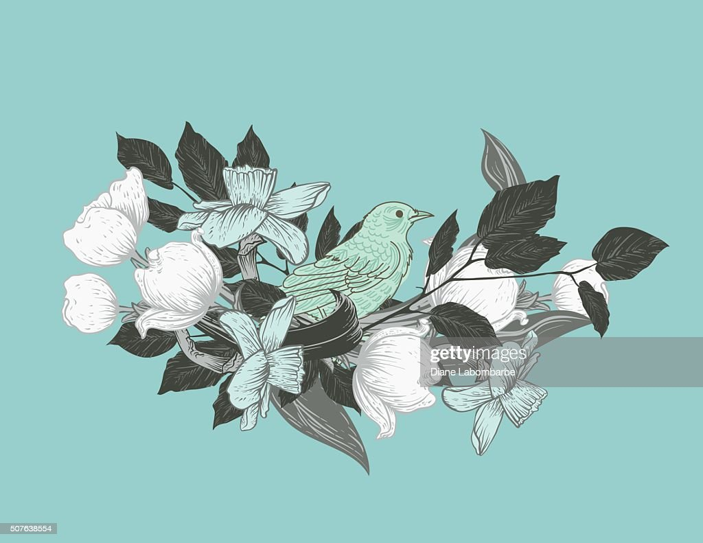 Botanical Flowers And Branches With a Cute Bird Perched Inside