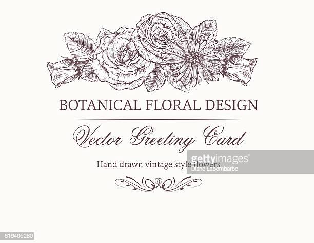 botanical flowers invitation template - rose flower stock illustrations, clip art, cartoons, & icons