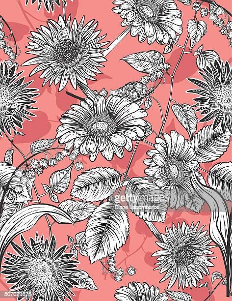Botanical Blumen nahtlose Muster