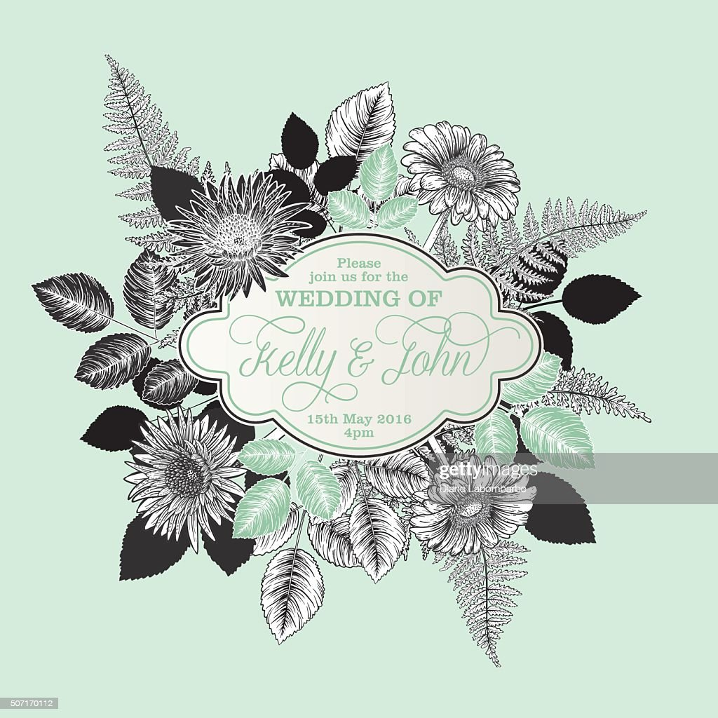 Botanical Flowers Wedding Invitation Template Vector Art | Getty Images