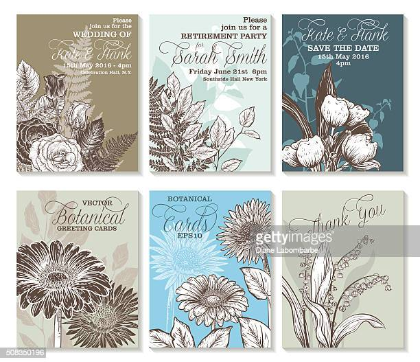 botanical flowers wedding invitation template - gerbera daisy stock illustrations, clip art, cartoons, & icons