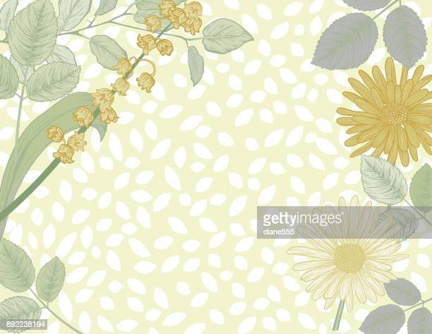 botanical hand drawn floral background - flowerbed stock illustrations, clip art, cartoons, & icons