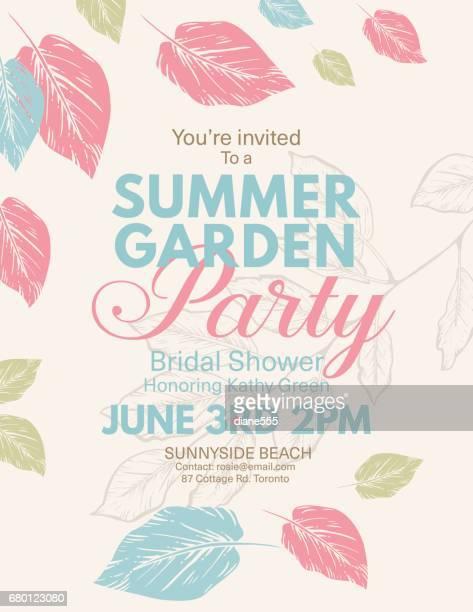 Botanical Hand Drawn Leaves Bridal Shower Invitation