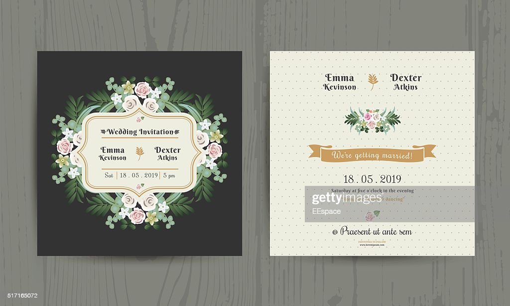 Botanical Leaves & Flowers Invitation Card