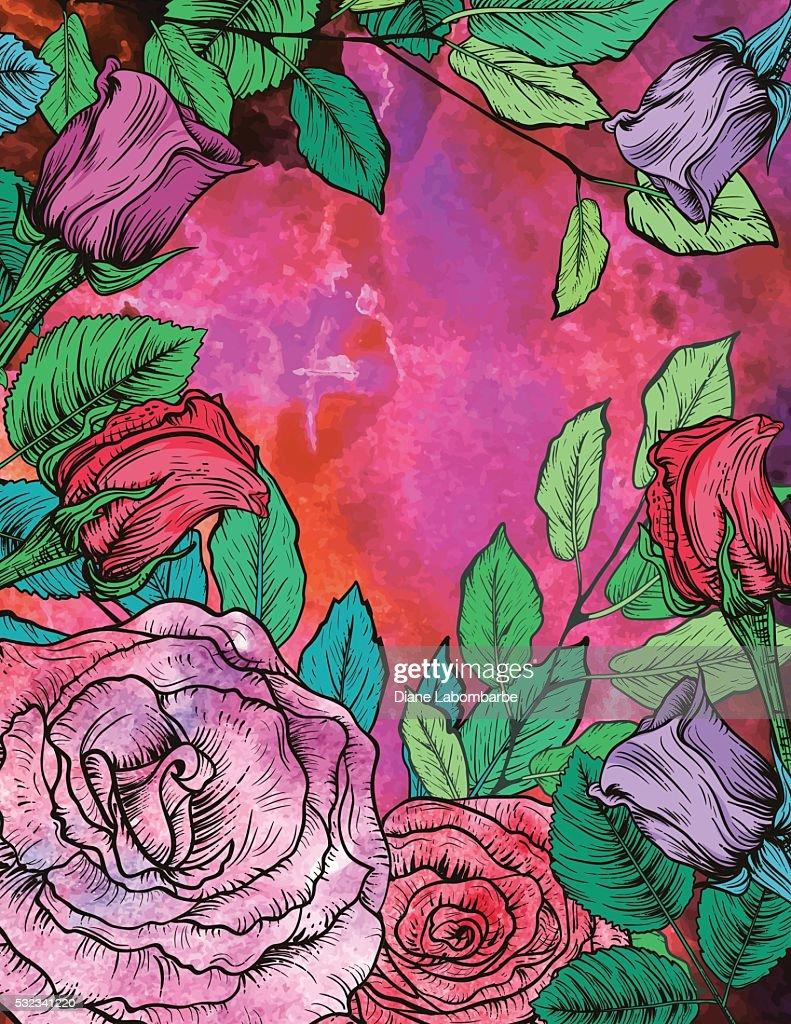 Botanical Roses Floral Background