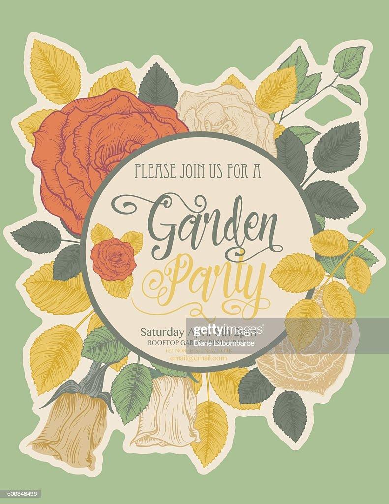 Botanical roses garden party invitation card vector art getty images botanical roses garden party invitation card vector art stopboris Choice Image