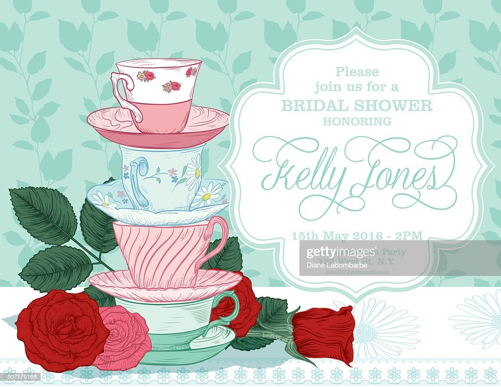 Botanical Roses Tea Party Bridal Shower Template : Vector Art  Bridal Shower Template
