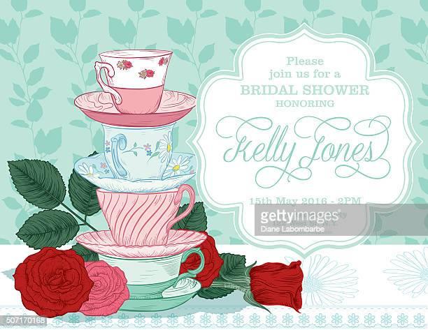 Botanical Roses Tea Party Bridal Shower Template