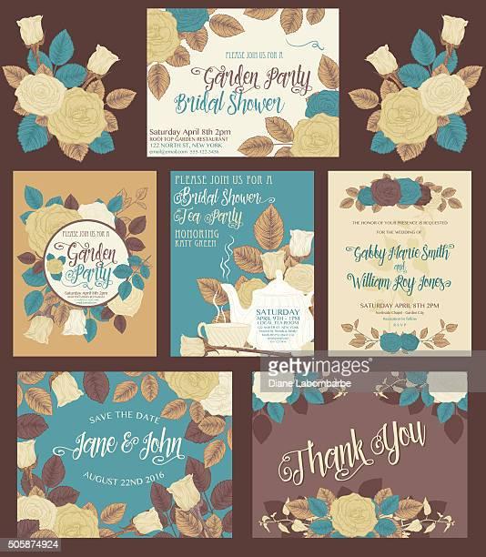 botanical roses theme invitations - steeping stock illustrations, clip art, cartoons, & icons