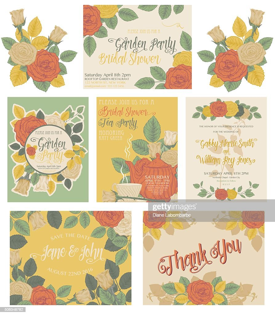 Botanical Roses Theme Invitations