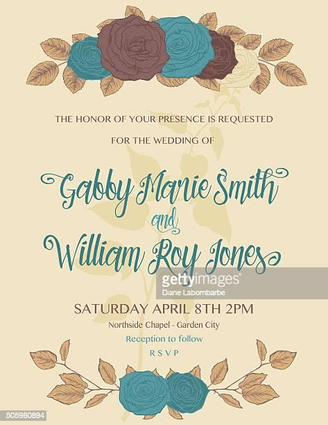 Botanical Roses Wedding Invitation Template