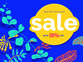 Botanical sale banner/background template design, trumpet honeysuckle on blue background, colorful vibrant tones